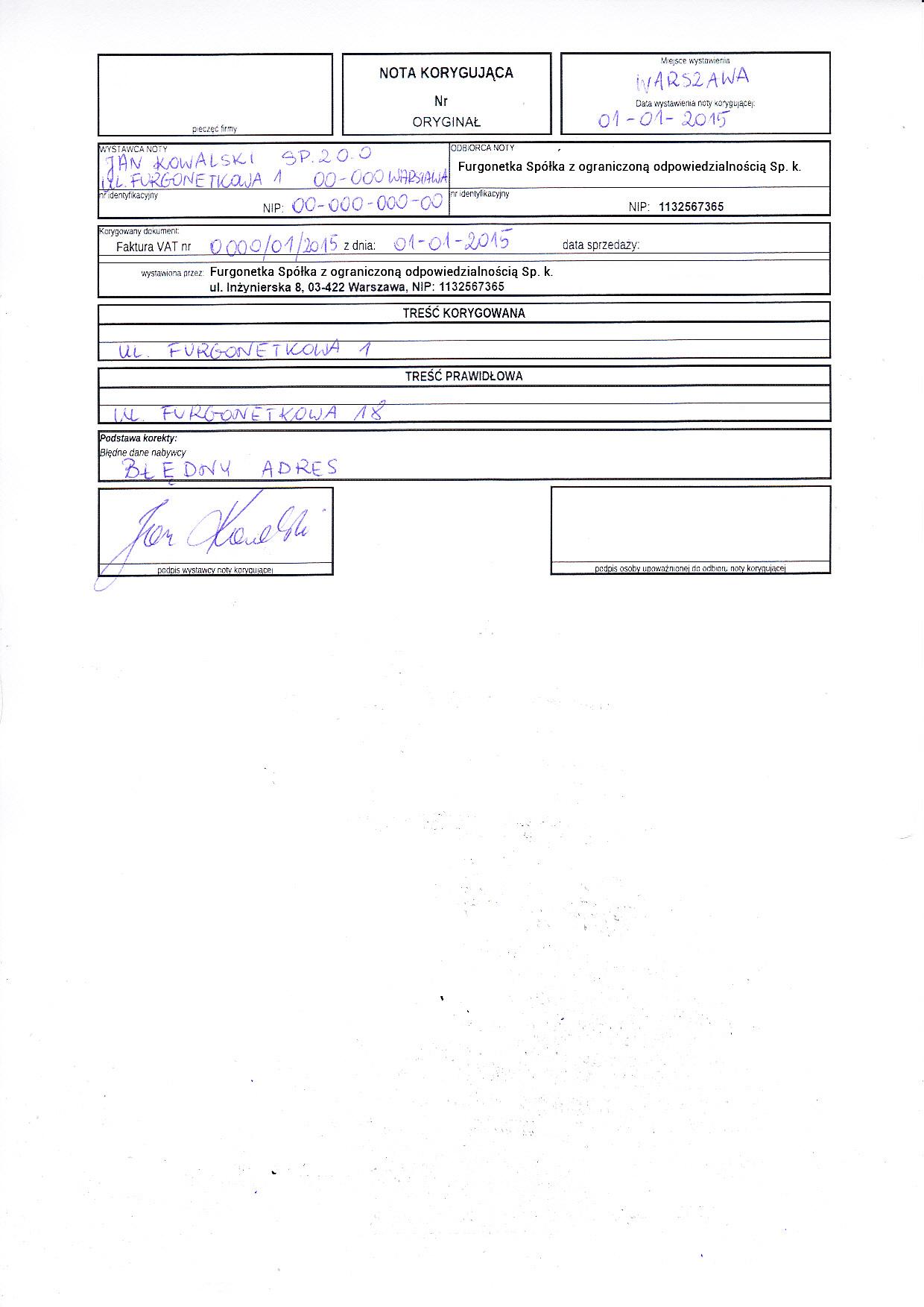 Wzory Wypełnionych Dokumentów Pomoc